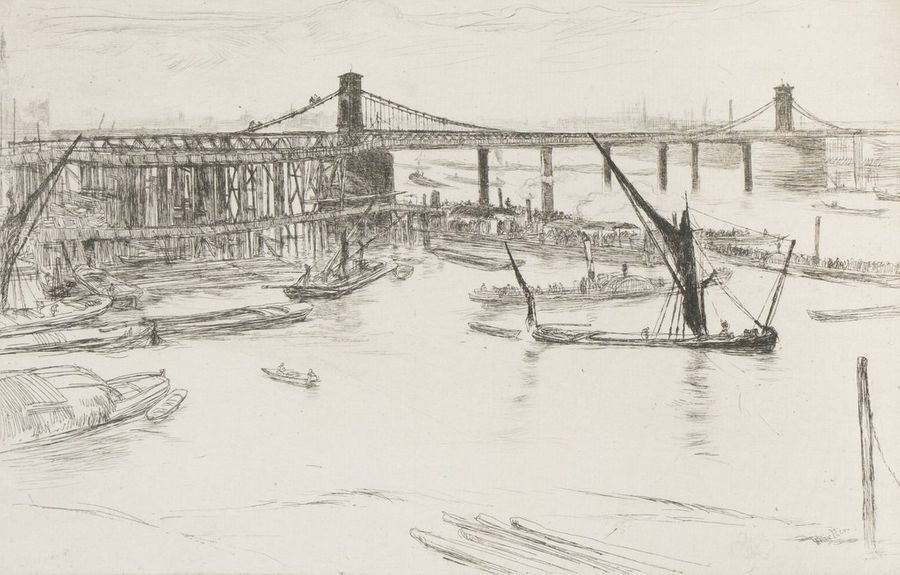 James Abbott WHISTLER (1834-1903) Old Hungerford Bridge, 1861 Eau-forte pointe sèche…
