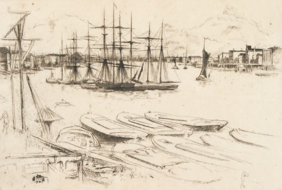 James Abbott WHISTLER (1834-1903) Wapping - The large Pool, 1878 -79 Eau-forte pointe…