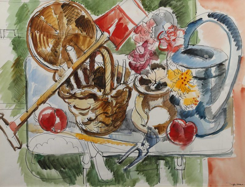 "Jacques DESPIERRE (Saint-Étienne 1912- Paris 1995)  ""La table de jardin""  Aquarelle…"
