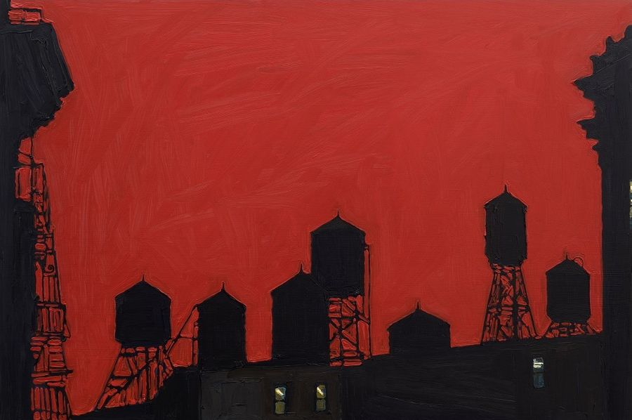 "Sonya SKLAROFF (née à Philadelphie en 1970) ""Seven water towers & fire escape, red""…"