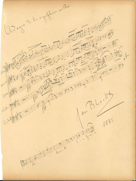 Jan Blockx (1859-1912). P.A.S. musicale, 1885 ; 1 page in-fol. cartonnée détachée…