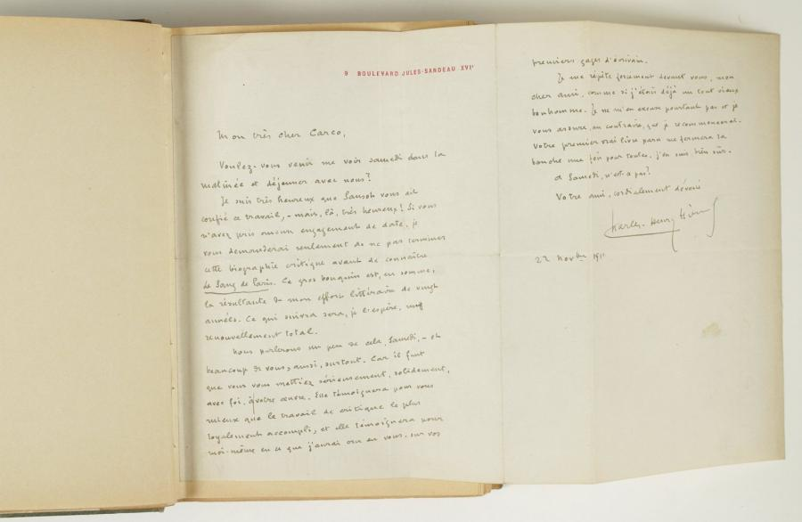 Charles Henry HIRSCH (1870 1948) 6 L.A.S., 1911 1912, à Francis Carco; 10 pages…