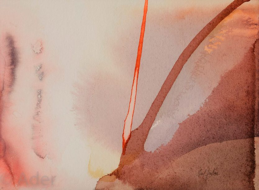 Paul JENKINS [américain] (1923 2012) Phenomena Antler Magic, 1961 Aquarelle. Sig…