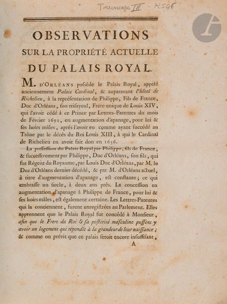 [PALAIS-ROYAL]. Ensemble de 3 brochures du XVIIIe siècle se rapportant à l'apanage…