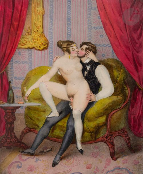 [ALBUM PORNOGRAPHIQUE]. Collection de 34 lithographies pornographiques en couleurs.…